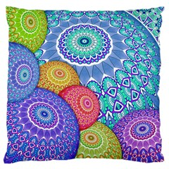 India Ornaments Mandala Balls Multicolored Large Cushion Case (two Sides) by EDDArt