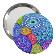 India Ornaments Mandala Balls Multicolored 3  Handbag Mirrors by EDDArt
