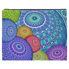 India Ornaments Mandala Balls Multicolored Cosmetic Bag (xxxl)  by EDDArt