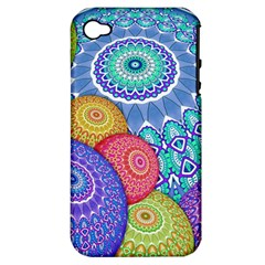 India Ornaments Mandala Balls Multicolored Apple Iphone 4/4s Hardshell Case (pc+silicone) by EDDArt