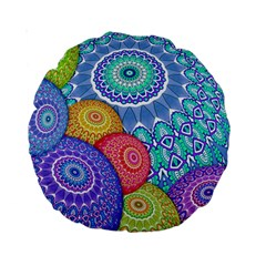 India Ornaments Mandala Balls Multicolored Standard 15  Premium Round Cushions by EDDArt