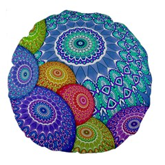 India Ornaments Mandala Balls Multicolored Large 18  Premium Round Cushions by EDDArt