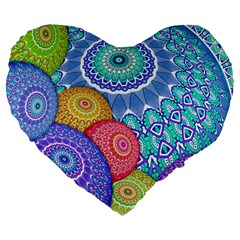 India Ornaments Mandala Balls Multicolored Large 19  Premium Heart Shape Cushions by EDDArt