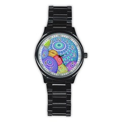 India Ornaments Mandala Balls Multicolored Stainless Steel Round Watch by EDDArt