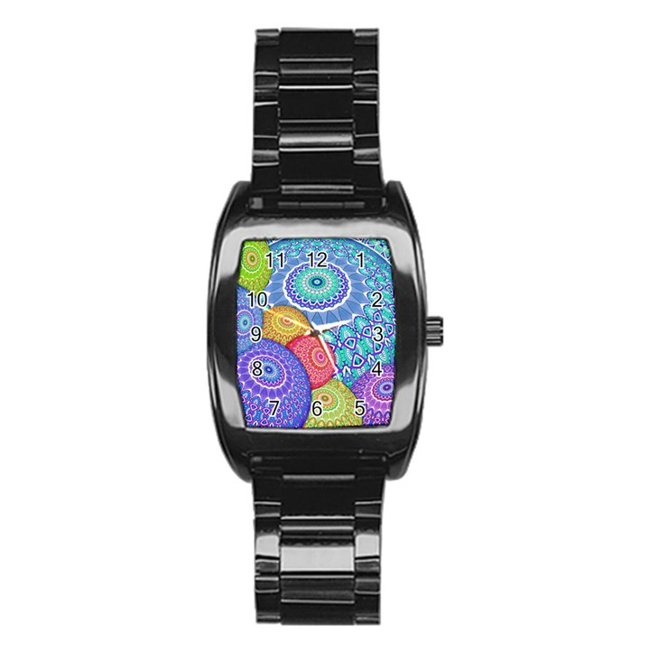 India Ornaments Mandala Balls Multicolored Stainless Steel Barrel Watch