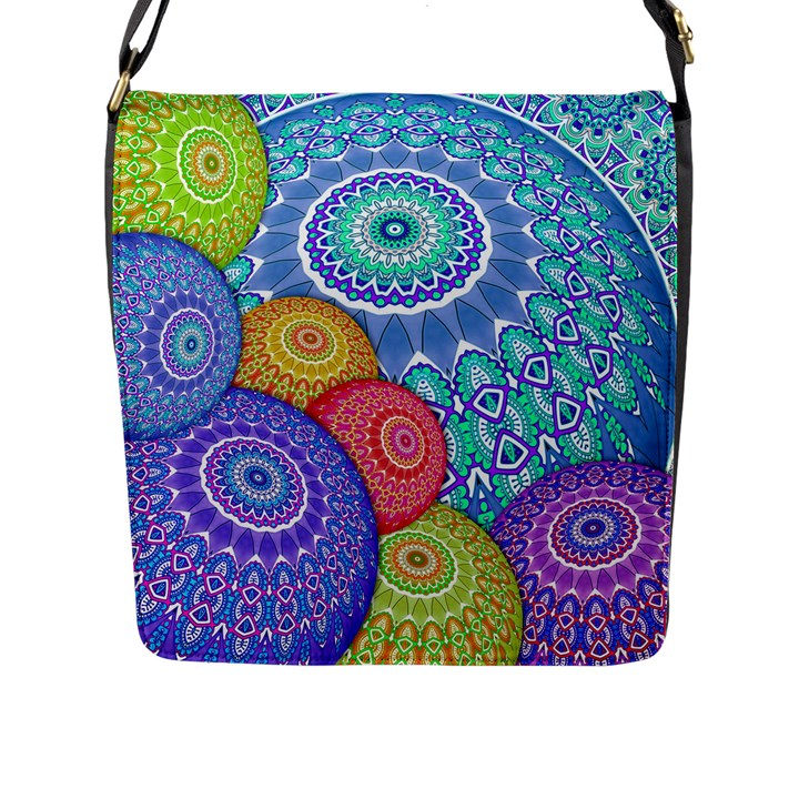 India Ornaments Mandala Balls Multicolored Flap Messenger Bag (L)