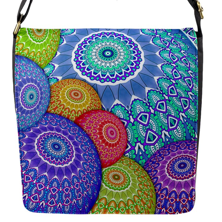 India Ornaments Mandala Balls Multicolored Flap Messenger Bag (S)