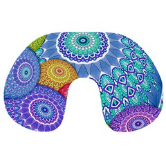 India Ornaments Mandala Balls Multicolored Travel Neck Pillows by EDDArt