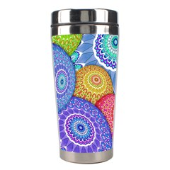 India Ornaments Mandala Balls Multicolored Stainless Steel Travel Tumblers by EDDArt