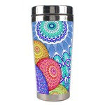 India Ornaments Mandala Balls Multicolored Stainless Steel Travel Tumblers Center