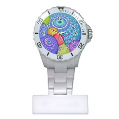 India Ornaments Mandala Balls Multicolored Plastic Nurses Watch by EDDArt