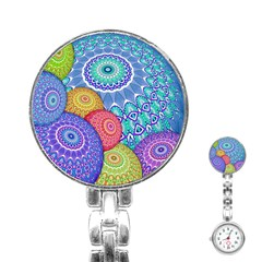India Ornaments Mandala Balls Multicolored Stainless Steel Nurses Watch by EDDArt