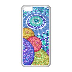 India Ornaments Mandala Balls Multicolored Apple Iphone 5c Seamless Case (white) by EDDArt