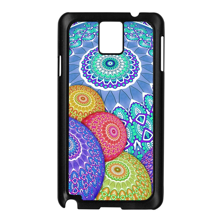 India Ornaments Mandala Balls Multicolored Samsung Galaxy Note 3 N9005 Case (Black)