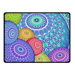 India Ornaments Mandala Balls Multicolored Double Sided Fleece Blanket (small)  by EDDArt