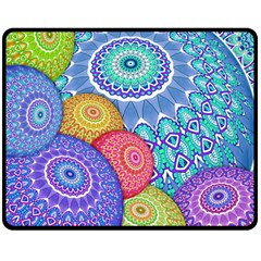 India Ornaments Mandala Balls Multicolored Double Sided Fleece Blanket (medium)  by EDDArt