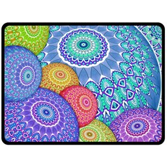 India Ornaments Mandala Balls Multicolored Double Sided Fleece Blanket (large)  by EDDArt