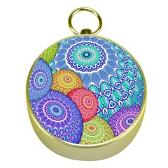 India Ornaments Mandala Balls Multicolored Gold Compasses by EDDArt
