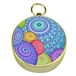 India Ornaments Mandala Balls Multicolored Gold Compasses Front