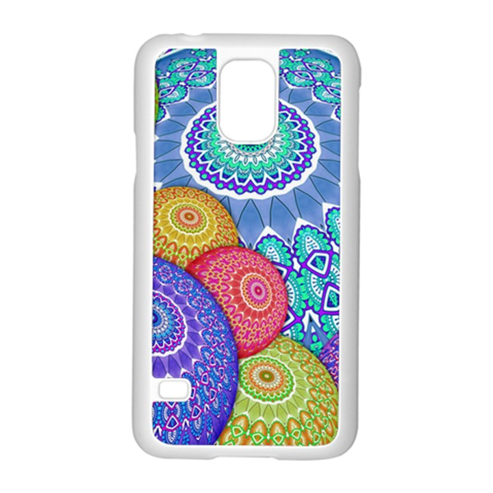 India Ornaments Mandala Balls Multicolored Samsung Galaxy S5 Case (White)