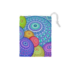 India Ornaments Mandala Balls Multicolored Drawstring Pouches (small)  by EDDArt