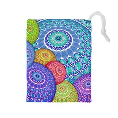 India Ornaments Mandala Balls Multicolored Drawstring Pouches (large)  by EDDArt