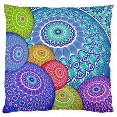 India Ornaments Mandala Balls Multicolored Large Flano Cushion Case (one Side) by EDDArt