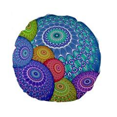 India Ornaments Mandala Balls Multicolored Standard 15  Premium Flano Round Cushions by EDDArt
