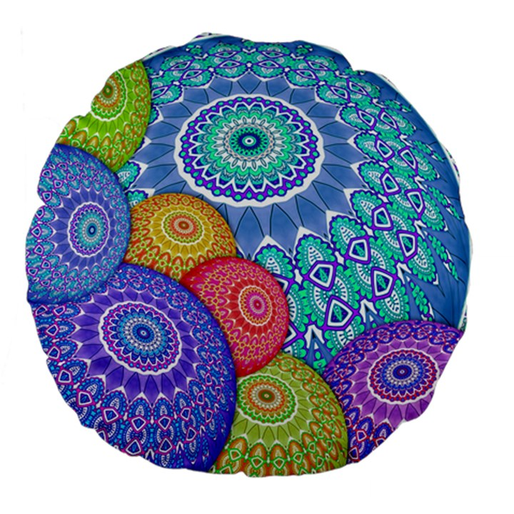 India Ornaments Mandala Balls Multicolored Large 18  Premium Flano Round Cushions