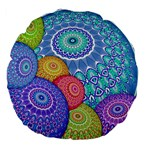 India Ornaments Mandala Balls Multicolored Large 18  Premium Flano Round Cushions Back