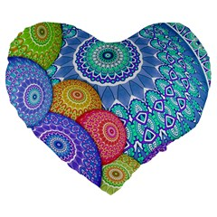 India Ornaments Mandala Balls Multicolored Large 19  Premium Flano Heart Shape Cushions by EDDArt