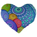 India Ornaments Mandala Balls Multicolored Large 19  Premium Flano Heart Shape Cushions Front