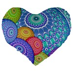India Ornaments Mandala Balls Multicolored Large 19  Premium Flano Heart Shape Cushions Back