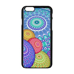 India Ornaments Mandala Balls Multicolored Apple Iphone 6/6s Black Enamel Case by EDDArt