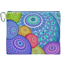 India Ornaments Mandala Balls Multicolored Canvas Cosmetic Bag (xxxl) by EDDArt