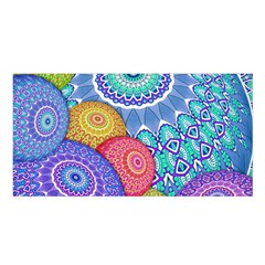 India Ornaments Mandala Balls Multicolored Satin Shawl by EDDArt