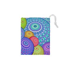 India Ornaments Mandala Balls Multicolored Drawstring Pouches (xs)  by EDDArt