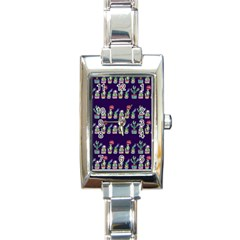 Cute Cactus Blossom Rectangle Italian Charm Watch