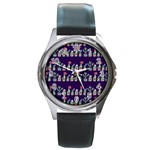 Cute Cactus Blossom Round Metal Watch Front