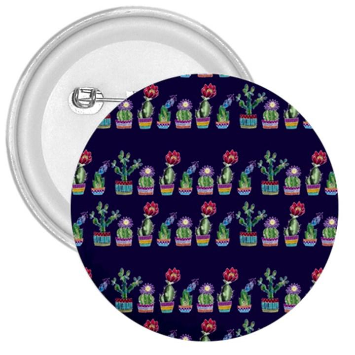 Cute Cactus Blossom 3  Buttons