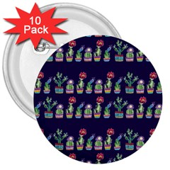 Cute Cactus Blossom 3  Buttons (10 Pack)  by DanaeStudio