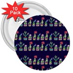 Cute Cactus Blossom 3  Buttons (10 pack)  Front