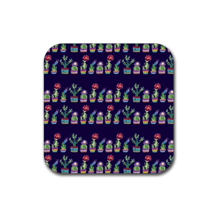 Cute Cactus Blossom Rubber Coaster (Square)