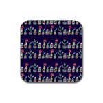 Cute Cactus Blossom Rubber Square Coaster (4 pack)  Front