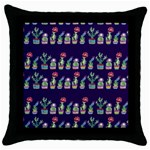 Cute Cactus Blossom Throw Pillow Case (Black) Front