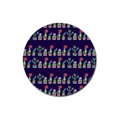 Cute Cactus Blossom Rubber Round Coaster (4 Pack)  by DanaeStudio