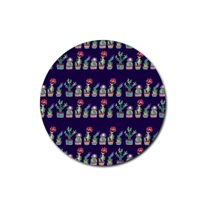 Cute Cactus Blossom Rubber Round Coaster (4 pack)
