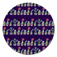 Cute Cactus Blossom Magnet 5  (round)