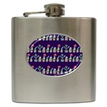 Cute Cactus Blossom Hip Flask (6 oz) Front