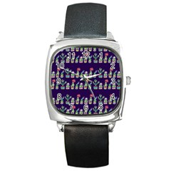 Cute Cactus Blossom Square Metal Watch by DanaeStudio